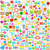 Collection of labels, tags and speech bubbles stock illustration