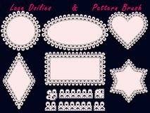 Collection of lace doilies and pattern brush. For laser cutting, scrapbook, templates design baby shower, cards and invitations. Vector illustration Stock Photos