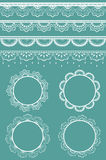 Set of vector lace ribbons and frames. vector illustration