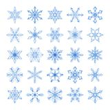 Collection of 25 lacy white snowflakes. Collection of 25 lacy linear snowflakes isolated on a white background for Christmas or New Year design Stock Image