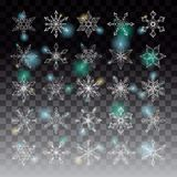Collection of 25 lacy white snowflakes. Collection of 25 sparkling lacy linear snowflakes on a transparent background for Christmas or New Year design Stock Images