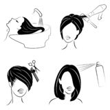 Collection. Lady in a beauty salon. The girl does her hair. A woman washes her hair, cuts her hair, dries a hair dryer, varnishes vector illustration
