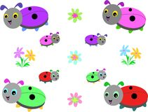 Collection of Lady Bugs and Flowers Stock Photos