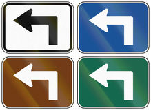 Collection of lane direction signs of the United States MUTCD Stock Images