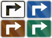 Collection of lane direction signs of the United States MUTCD Stock Photos