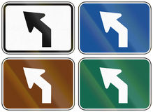 Collection of lane direction signs of the United States MUTCD Royalty Free Stock Photo