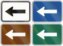 Collection of lane direction signs of the United States MUTCD Royalty Free Stock Photography