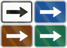 Collection of lane direction signs of the United States MUTCD Royalty Free Stock Image