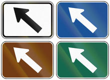 Collection of lane direction signs of the United States MUTCD Stock Photo