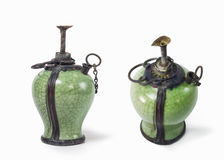 Collection lantren . Vintage kerosene oil lantern lamp on isolat Royalty Free Stock Photos