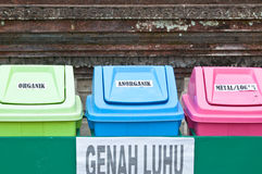 Collection of large colorful trash cans Stock Photo