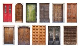 Collection of Large Double Doors Isolated on White Royalty Free Stock Photo