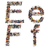 Collection of a large group of people forming the letter E and F in both upper and lower case isolated on a white background. stock illustration