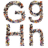 Collection of a large group of people forming the letter G and H in both upper and lower case isolated on a white background. Stock Photos