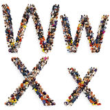 Collection of a large group of people forming the letter W and X in both upper and lower case isolated on a white background. Royalty Free Stock Photos