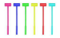 Collection of large toy hammers isolated Royalty Free Stock Photography
