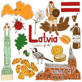 Collection of Latvia icons stock illustration