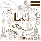 Collection of Latvia icons Stock Image