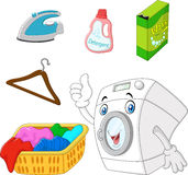 Collection of laundry equipment cartoon Royalty Free Stock Photography