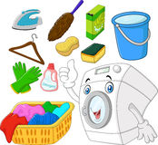 Collection of laundry equipment cartoon Royalty Free Stock Image