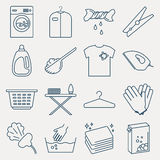 Collection of laundry icons. Royalty Free Stock Photo