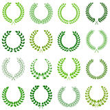 Collection of laurel wreaths Royalty Free Stock Images