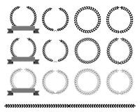 Collection of laurel wreaths  Vector illustration. Stock Image