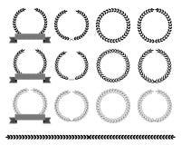 Collection of laurel wreaths Vector illustration. Vector illustration royalty free illustration