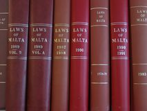 Laws of Malta. A collection of law books, laws of Malta stock photos