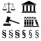 Collection of law icons isolated on white background,  ill Stock Image