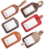 Collection of leather luggage tags isolated on white Stock Photos