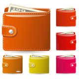Collection of leather wallets. Colorful collection of leather wallets with banknotes stock illustration