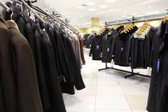 Collection of leathers in clothing store. Stock Photography