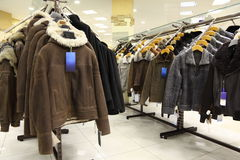 Collection of leathers in clothing store. Stock Photos