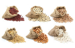 Collection of legumes in the cup isolated Royalty Free Stock Images