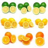 Collection of lemon, lime and orange. Isolated on white background stock image