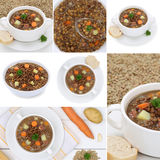 Collection of lentil soup soups stew with lentils in bowl Stock Images