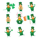 Collection of Leprechaun for Saint Patricks design. Stock Photo