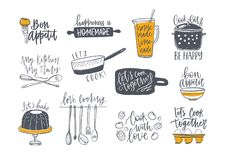Collection of lettering handwritten with calligraphic font and decorated with kitchenware and food. Set of inscriptions. And tools for cooking or homemade meals stock illustration