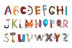 Collection of letters made of various objects, food and tools. Creative detailed font. Kids development and education royalty free illustration