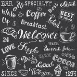 Collection - lettrage de café et éléments, blanc tiré par la main sur b Photo stock