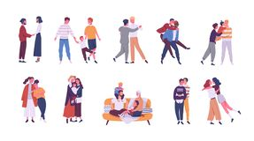 Collection of LGBT or couples and families with children. Bundle of male, female and transgender romantic partners. Isolated on white background. Vector royalty free illustration