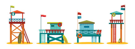Collection of lifeguard station. Stock Photo