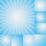 Collection of light blue color burst background. stock illustration