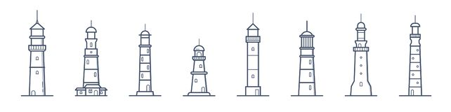 Collection of lighthouses of various types drawn with contour lines on white background. Bundle of coastal towers. Buildings or constructions for marine royalty free illustration