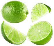 Collection of lime isolated on the white background Royalty Free Stock Images
