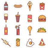 Collection linéaire colorée d'icônes de prêt-à-manger Icônes plates de prêt-à-manger réglées illustration stock