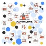 Collection linéaire d'icônes de production illustration stock