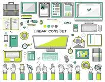 Collection linéaire d'icônes de lieu de travail, style plat Photos libres de droits