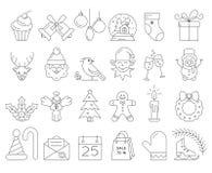 Collection linéaire d'icônes de Noël Photos stock